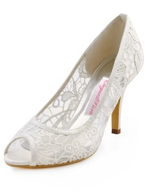 Elegantpark 2014 Fashion Ivory Women Peep Toe Cut-out High Heel Lace Wedding Shoes
