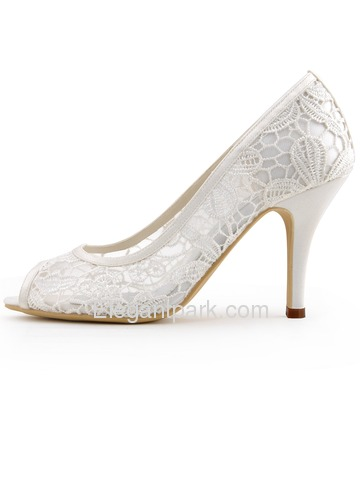 Elegantpark 2014 Fashion Ivory Women Peep Toe Cut-out High Heel Lace Wedding Shoes (HP1400)