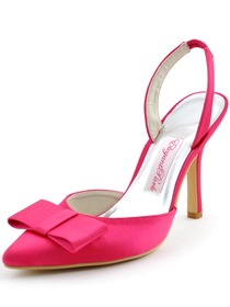 Elegantpark 2014 Sexy Hot Pink Pointed Toe Bow Slingback Stiletto Heel Satin Evening Party Woman Shoes