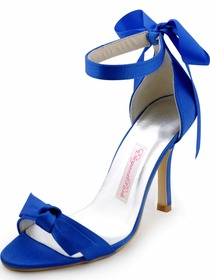 Elegantpark 2014 New Blue Open Toe Bow Ribbon Stiletto Heel Satin Evening Party Sandals