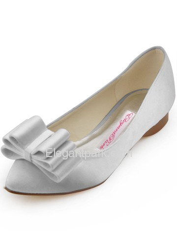 Elegantpark 2014 New Fashion Pointed Toe 3D Bows Satin Wedding Flats (FC1406)