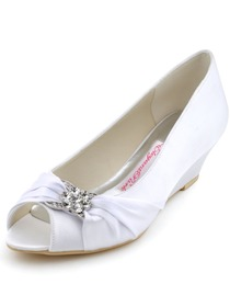 Elegantpark 2014 New White Peep Toe Rhinestone Wedge Heel Satin Bridal Shoes