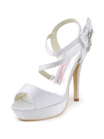 Elegantpark 2014 Women New Open Toe High Heel Slingback Platform Rhinestones Satin Wedding Sandals