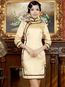 Daffodil Mandarin Three Quarter Sleeves Knee-length Brocade Cheongsam