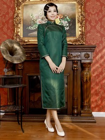 Dark Green Vintage Three Quarter Sleeve Tea-length Brocade Cheongsam