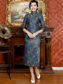 Blue Vintage Three Quarter Sleeve Tea-length Brocade Cheongsam