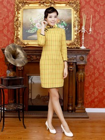 Daffodil Mandarin Plaid Knee-length Three Quarter Sleeve Woolen Fashion Cheongsam