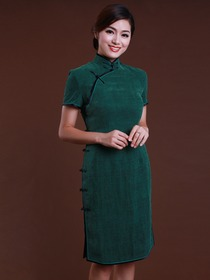 Green Vintage Mandarin Short Sleeve Knee-length Watered Gauze Cheongsam