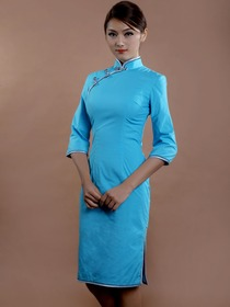 Sky Blue Mandarin Half Sleeve Knee Length Cotton Cheongsam