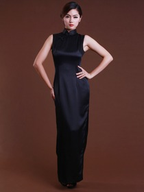 Black Mandarin Sleeveless Back Zipper Ankle Length Silk Cheongsam