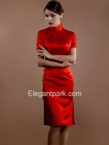 Red Mandarin Full Buttons Split Knee Length Silk Brocade Chinese Bridal Cheongsam