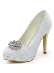 Elegantpark HC1413P Ivory Women Wedding Party Closed Toe Rhinestones Platform Stiletto Heel Lace Bridal Shoes