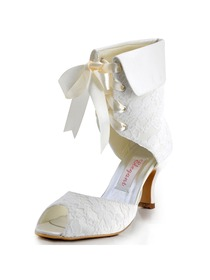 Elegantpark Modern Peep Toe Lace Spool Heel Bridal Wedding Ankle Boots with Ribbon Tie