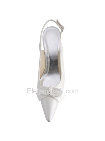 Elegantpark White Low Heel Satin Bridal Shoes (EL-043B)