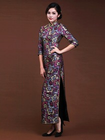 Grape Women Ankle-length Half Sleeves Split Side Flower-printed Silk Brocade Cheongsam