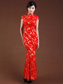Red Silk Women Butterfly High Neck Embroidery Cap Sleeve Ankle Length Silk Cheongsam
