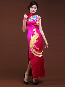 Fuchsia Women Silk Embroidery Phenix Cap Sleeve Ankle Length Traditional Cheongsam