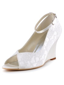 Elegantpark White Ivory Peep Toe Lace Satin Tie Wedges Wedding Bridal Shoes