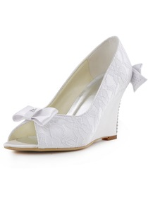 Elegantpark White Ivory Peep Toe Lace Satin Bow Rhinestones Wedges Wedding Bridal Shoes