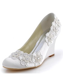 Elegantpark Ivory Closed Toe Lace Embroidery Flower Satin Wedges Wedding Bridal Shoes