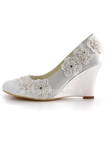 elegantpark ivory closed toe lace embroidery flower satin