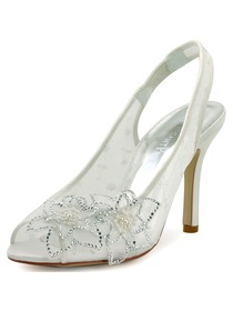 Elegantpark Ivory White Lace Satin Peep Toe High Heels Wedding Shoes