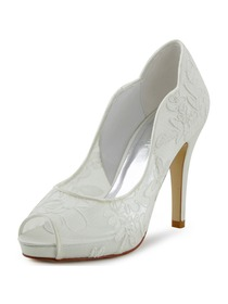 Elegantpark New Ivory Lace Satin Peep Toe High Heels Platforms Wedding Pumps Shoes