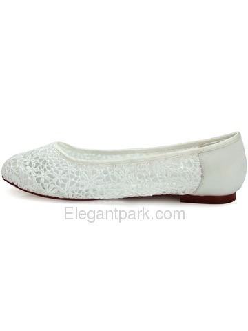Elegantpark New Ivory Lace Flower Satin Closed Toe Flats Wedding Party Shoes (FC1506)
