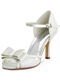 Elegantpark Ivory Satin Bow Open Toe High Heels Wedding Party Shoes