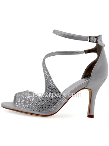Elegantpark New Silver Satin Open Toe Stiletto Heels Crystal Weeding Party Shoes (HP1505)
