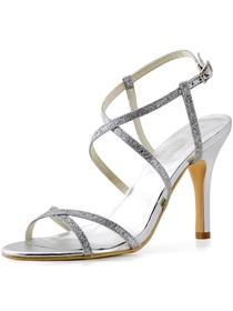 Elegantpark Silver Open Toe Buckle Stiletto Heel Satin Wedding Evening Party Sandals