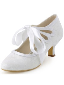 Elegantpark Ivory Closed Toe Women Ribbon Tie Mid Heel Lace Wedding Shoes(More color)
