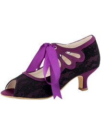 Elegantpark Black Peep Toe Ribbon Tie Women Lace Prom Shoes