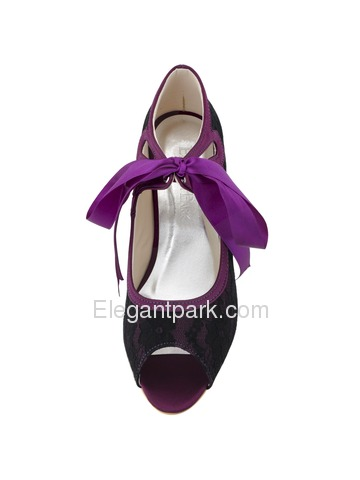 Elegantpark Black Peep Toe Ribbon Tie Women Lace Prom Shoes (HP1522)