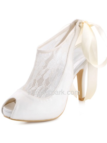 Elegantpark Women's Ivory Peep Toe Stiletto Heel Slingback Satin Lace Wedding Pumps (HP1525I)