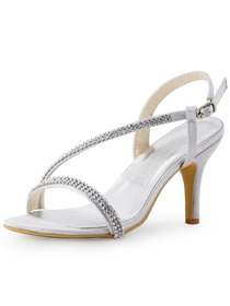 Elegantpark Silver Open Toe Rhinestone Chain Chunky Heel Satin Evening & Party Shoes