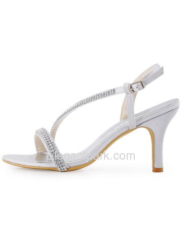 Elegantpark Silver Open Toe Rhinestone Chain Chunky Heel Satin Evening & Party Shoes (EP11097)