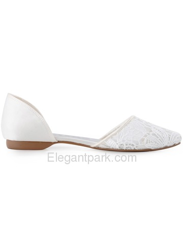 New 2015 ElegantPark Women's Pointy Toe Satin Lace Fat Bridal Wedding Shoes (FC1527)