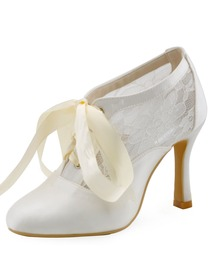 ElegantPark Women's White Ivory Closed Toe Pumps Ribbon Tie Wedding Party Shoes