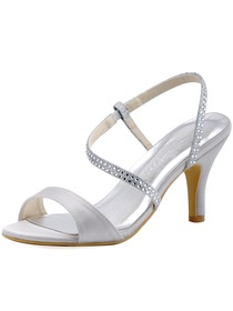 ElegantPark Women's Silver Open Toe Slingback High Heel Rhinetons Satin Wedding Sandals