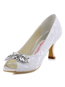 ElegantPark White Ivory Lace Pumps Women Peep Toe Leaves Clip Buckle Wedding Bridal Shoes