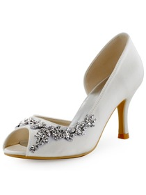 Elegantpark Peep Toe Satin Buckle Stiletto Heel Bridal Women Shoes