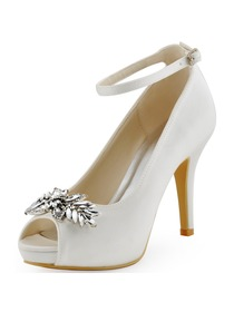Elegantpark Women Buckle Leaves Platforms Peep Toe Satin Stiletto Heel Wedding Bridal Shoes