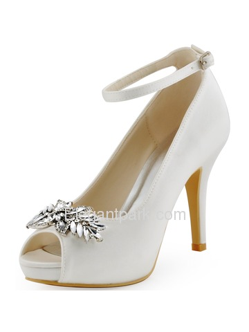 Elegantpark Women Buckle Leaves Platforms Peep Toe Satin Stiletto Heel Wedding Bridal Shoes (HP1544I)