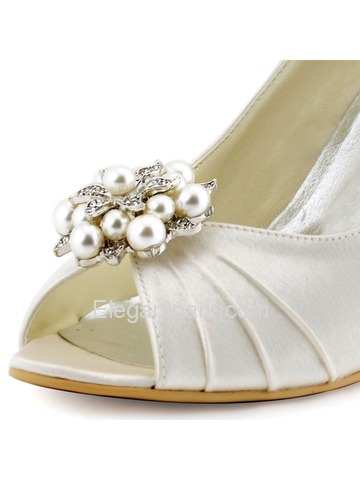 ElegantPark Ivory Champagne Satin Double Pearls Peep Toe Women Wedges Wedding Party Shoes (WP1549)