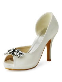 ElegantPark White Ivory Women Peep Toe Leaves Rhinestones High Heel Satin Bridal Wedding Shoes