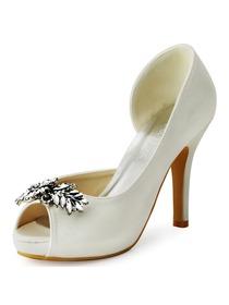 7e254ddd5 ElegantPark White Ivory Women Peep Toe Leaves Rhinestones High Heel Satin  Bridal Wedding Shoes