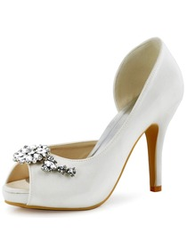 ElegantPark Women White Ivory Peep Toe Rhinestones High Heel Bridal Shoes