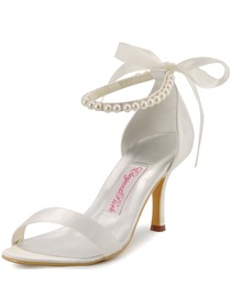 Elegantpark Ivory Open Toe Satin Pearls Wedding Evening Party Sandals
