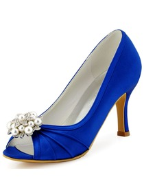 New ElegantPark Peep Toe High Heel Pearls & Rhinestones Shoes-clips Satin Evening Wedding Shoes